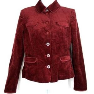 INC Jacket Blazer Petite Small Burgundy Corduroy